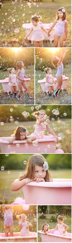 beautiful sunlight, bubbles and a pink tub. delightful!
