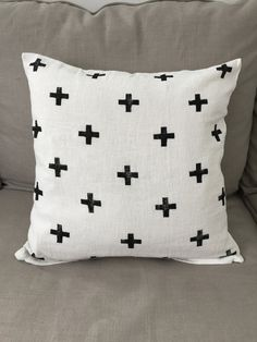 """White Pillow Cover with Black Plus Signs / 20""""x20"""" / Black / White / Minimal Design / Plus Signs / Swiss Cross"""