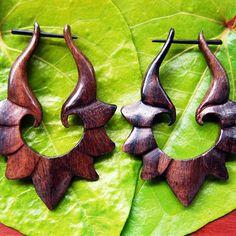Tulip Hoops Wooden Earrings Post Design BROWN by TribalStyle