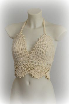 Tender nice cotton beige halter top of SexyCrochet design for this summer. Very sexy and lovely design for beautiful girls made by crochet of