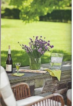 a glass of wine in the garden