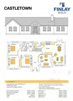 Bungalow House Plans, Bungalow House Design, House Designs Ireland, Self Build Houses, Ireland Homes, Dining Area, Building A House, House Ideas, Floor Plans
