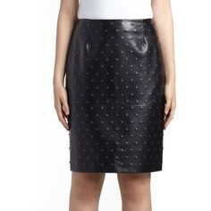 Lanvin Women's Studded Leather Pencil Skirt - Black (258.345 HUF) ❤ liked on Polyvore featuring skirts, apparel & accessories, black, real leather skirt, genuine leather skirt, leather pencil skirt, leather zipper skirt and long pencil skirt