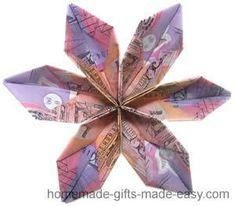 "Origami Money Flowers, an easy 5 minute design ""Give someone you love a beautiful bouquet. of origami money flowers! Origami Design, Diy Origami, Easy Money Origami, Origami Money Flowers, Easy Origami Flower, Useful Origami, Origami Stars, Paper Flowers, Gift Flowers"