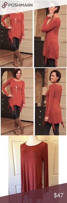 """RUST WASH DYE FRINGE TUNIC On trend wash dyed fabric on a beautiful rust color with fringe on the sides. So soft and the knit has a lot of stretch to it. Wonderful quality and made in the USA. Size SMALL: 34"""" bust, 32"""" length, MEDIUM: 36"""" bust, LARGE: 38"""" bust, 32"""" length. Fabric:94% Rayon, 6% Spandex. No trades and a smoke free home. Bundle discount: 10% off two s d 15% off three. Thank you for stopping by!  Infinity Raine Tops Tunics"""