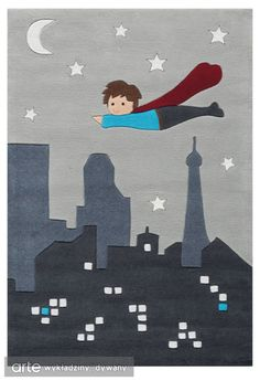 """Grey, black and white with tiny blue elements make this Glow-in-the-Dark kids rug irresistible! The white details lighten up when the lights go out! Superman by Arte Espina ❤ Speelkleed Glow in the dark """"Glowy"""". Modern Kids Rugs, Modern Area Rugs, Superhero Classroom, Superman, Kids Collection, Carpets For Kids, Kids Line, Carpet Sale"""