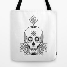 Skull and Flowers Tote Bag by ohzemesmo - $22.00