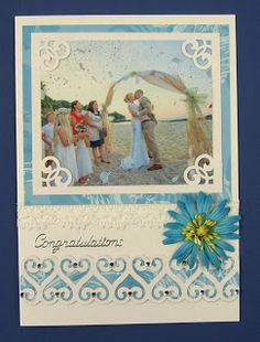 This is a wedding card I recently made for my niece's wedding. As she was getting married in Greece, I decided to reflect the beautiful beac. Stamp Pad, Alternative Wedding, Getting Married, Wedding Cards, Paper Crafts, Frame, Inspiration, Decor, Wedding Ecards