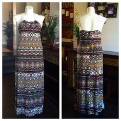 """Tribal Print Maxi Dress with Lace Trim Cotton maxi dress with white crochet trim straps - 62"""" shoulder to hem. By """"Extra Touch"""" Dresses Maxi"""