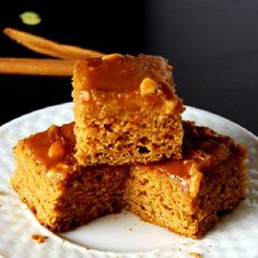 Whole Wheat Sweet Potato Breakfast Squares with a Peanut Butter Glaze.