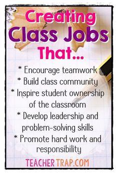 Some new ideas for making classroom jobs meaningful and easier to manage! Elevate your class jobs today by switching to TEAM jobs! Classroom Economy, Classroom Procedures, Classroom Behavior, Classroom Environment, School Classroom, Classroom Activities, Classroom Organization, Classroom Management, Classroom Ideas