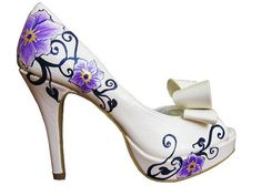 Wedding Shoes Purple Whimsy by ThePaintedShoe on Etsy, shoes shoes shoes fashion shoes Purple Wedding Shoes, Wedding Shoes Heels, Purple Shoes, Bridal Shoes, Crazy Shoes, New Shoes, Me Too Shoes, Cinderella Shoes, Summer Heels