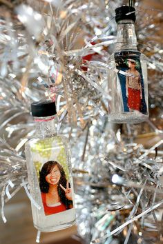 Make your own snow globe ornaments out of empty nips. 17 Ways To Have A Crafternoon With A Bottle Of Booze Mini Alcohol Bottles, Liquor Bottle Crafts, Mini Bottles, Diy Christmas Ornaments, Holiday Crafts, Holiday Fun, Photo Ornaments, Festive, Xmas