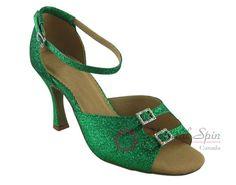 Natural Spin Basic Latin Shoes(Open Toe, Adjustable):  L1113-21_GreenG