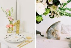 15 DIY Wedding Table Numbers | SouthBound Bride | http://www.southboundbride.com/15-diy-table-number-ideas | Credits: Rock My Wedding // Print in Cursive/Honey of Thousand Flowers/Leo Patrone via Once Wed