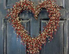 Valentine Wreath  Country Red & Cream Berry Heart by Designawreath, $59.95