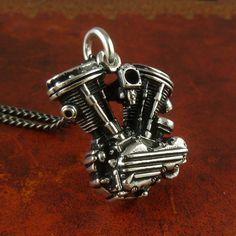 Motorcycle Engine Necklace Antique Silver Harley par LostApostle