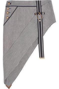 Asymmetric striped denim mini skirt #skirt #women #covetme #anthonyvaccarello
