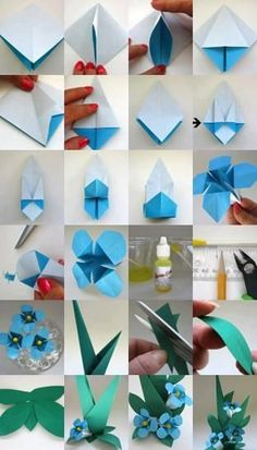origami flower - 40 Origami Flowers You Can Do instructions for an origami flower origami forget-me-not. I totally forgot about these! Everybody knows about origami, the Japanese art of paper folding. But what is it that can make origami so magical, so en Gato Origami, Origami And Kirigami, Paper Crafts Origami, Paper Crafts For Kids, Origami Art, Diy Paper, Diy Crafts, Origami Bookmark, Origami Folding