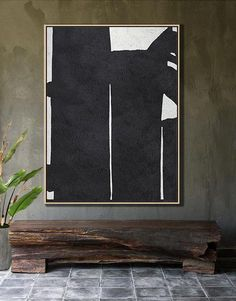 Black and white abstract art minimalist painting on canvas #MN25B, vertical modern art by CZ ART DESIGN @CelineZiangArt
