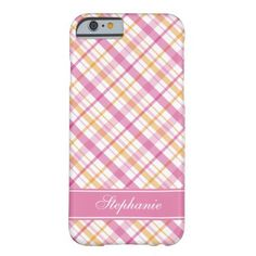 Pink and Orange Plaid Pattern Barely There iPhone 6 Case