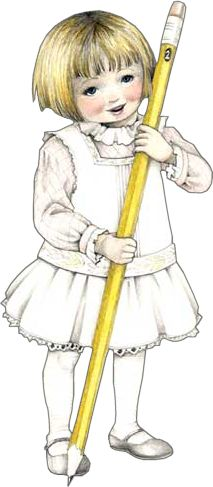 Mary Engelbreit - Little girl with a big pencil