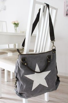 "DEINLIEBLINGSLADEN Tasche ""Big Star"", Canvas, grey-Tasche-Canvas-grey"