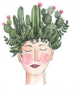 This fun cactus lady original watercolor is perfect for the cactus diva.** note copyright mark will not appear on actual painting** x on 140 lb cold press paper Watercolor Cactus, Watercolor Landscape, Abstract Watercolor, Watercolor Paintings, Watercolor Animals, Watercolor Background, Simple Watercolor, Tattoo Watercolor, Kaktus Illustration