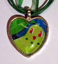 Chikorita Pokemon necklace made from upcycled by CharmingSushi