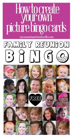 This customized BINGO card would be perfect for the next family reunion!  Fun for adults and little kids too!     mynameissnickerdoodle.com