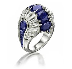 An Art Deo Sapphire and Diamond Ring, circa 1938. Via FD Gallery, www.fd-inspired.com