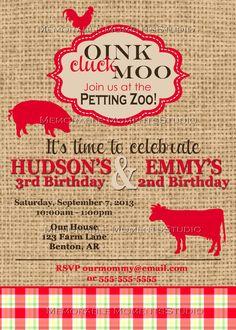 PRINTABLE INVITATIONS Vintage Petting Zoo or by MemorableMomentsSt