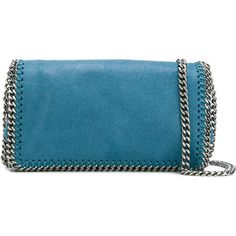 Stella McCartney Chain Detail Cross Body Bag (54,470 INR) ❤ liked on Polyvore featuring bags, handbags, shoulder bags, chain strap shoulder bag, stella mccartney handbags, chain handle handbags, blue shoulder bag and chain purse