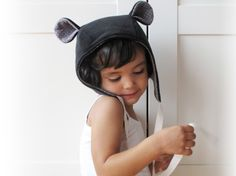 Kids' fall winter hood, ears hat, baby and toddler cap. The finest italian fleece and gray cotton flannel. Black. Sizes 6m to 6y