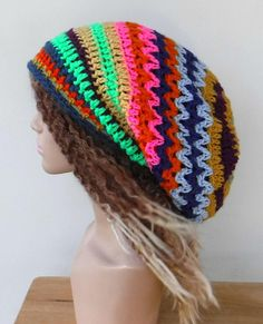 Colorful long slouchy beanie, patchwork dread Tam hat, bright funky hippie hat, Dreadlocks beanie, brown sock snood tam, woman beanie hat
