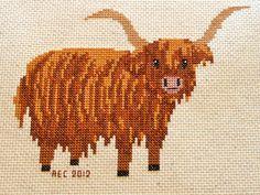 Highland Cow Cross Stitch Pattern. $8,00, via Etsy.