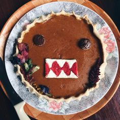 This year I made my own Birthday cake and since I wanted to have a go at pie I made this instead haha  #lol #homemade #cute #domokun #kawaii #first #pumpkin #birthday #pie #latepost #VSCOcam #whiskup #baking