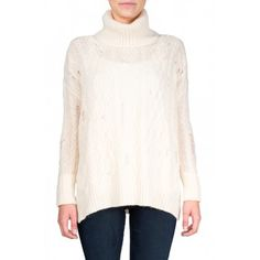 Free People Complex Cable Pullover in Ivory - Long sleeve turtleneck with cabling with ladder stitch detailing. Cuffed sleeves and side slits.  http://www.shopcrushboutique.com/apparel/sweaters-knits/free-people-complex-cable-pullover-in-ivory.html