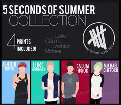 Minimalist Print Collection of 5 SECONDS OF SUMMER Band Members (11.7x16.5 inches / A3) - ashton | ashton irwin | print | poster | 5sos | 5 seconds of summer | merchandise | 5sosmerch | minimalist | Calum hood | luke hemmings | Michael Clifford | 5sosfam | don't stop | she looks so perfect | etsy | brand | band | love | funny |