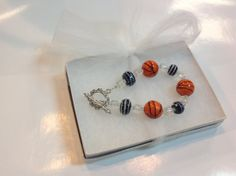 Basketball Bracelet Lampworked glass beads by BlessedBeeMelisa, $24.95