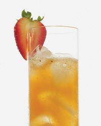 Strawberry & Ginger Cooler!  (non-alcoholic)  In a cocktail shaker, muddle the strawberry slices with the chopped ginger and Simple Syrup. Add ice and the orange and lime juices and shake well. Double strain into an ice-filled collins glass. Stir in the ginger beer and garnish with the strawberry half.