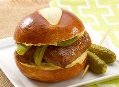 Pretzel Bratwurst Sandwiches Sister Schubert's Pretzel Rolls, Mustard and dill pickle slices dress a bratwurst made in heaven. #PretzelBread #SimpleSandwich