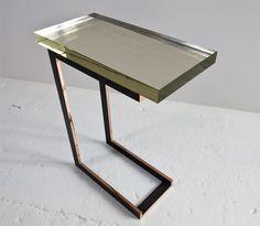 KGB Dempsey Cocktail Table, cast glass top