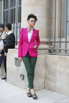 Hot pink and olive Green blazer skinny pants flats Street Style Paris via  www.leeoliveira d5caff21420