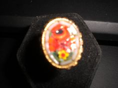 Vintage Mosaic Goldtone Adjustable Ring by KimsKreations17 on Etsy, $10.00