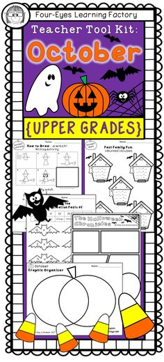 Celebrate Halloween (and some of the lesser known October holidays) with these fun and educational activities for literacy, math and more! This Teacher Tool Kit is a perfect addition to your collection of Holiday activities.