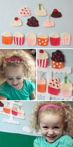 I have a sweet tooth..even when it comes to felt. ;)During yesterday's nap time...I was busy finishing up some sweet treats for my sophie!I made some Felt Cupcakes for her Felt Board!6 little cupca...