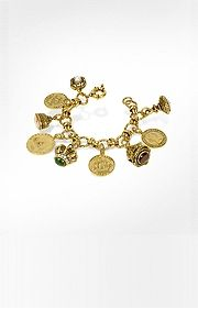 ALCOZER & J  Gemstone Charm Brass Bracelet