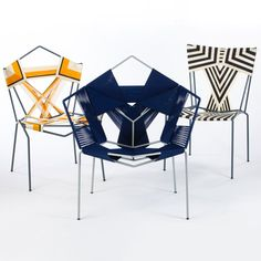 Young designer Rami Tareef creates chairs with geometric patterns by wrapping and weaving cords around spare, steel frames.