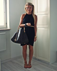 Simple black dress, belt, LV purse - I have that purse! :)